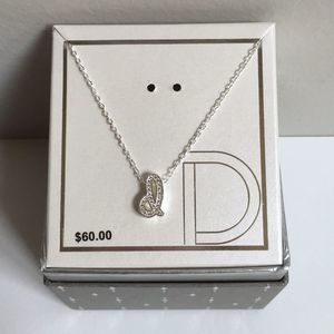 """Silver-Plated CZ Initial """"D"""" Pendant Necklace New"""